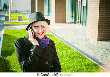 美しい, 気持が良い, について, コート, ビジネス, 電話, 会話, 電話, コミュニケーション, 若い, 細胞,...