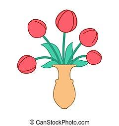美しい, 水差し, isolated., つぼ, チューリップ, 花, 赤