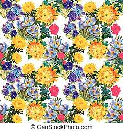 美しい, 水彩画, パターン, seamless, 花, 絵