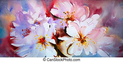 美しい, 水彩画, 花, 絵