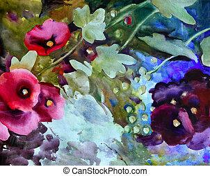 美しい, 水彩画, flowers., 絵
