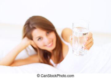 美しい, 水, 女の子, 手渡された, ガラス