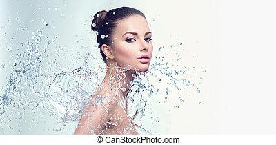 美しい, 水, 女, はねる, エステ