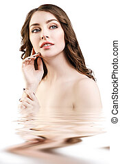 美しい, 水, 女, 反射, 表面