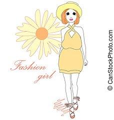 美しい, 流行, 女の子, ファッション