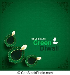 美しい, 流行, diwali, 概念, 緑の背景