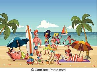 美しい, 浜。, グループ, 漫画, 人々