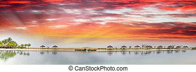 美しい, 浜, ホンジュラス, パノラマである, 日没, roatan, 光景