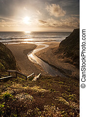 美しい, 浜, 上に, california 日の入
