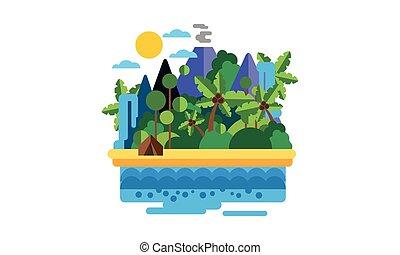 美しい, 浜, 島, 木, イラスト, トロピカル, やし, ベクトル, 海洋, 滝, 火山, 風景