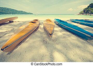 美しい, 浜, 調子, 砂, 型, 海洋, やし, 漁船