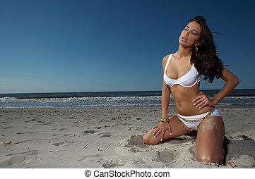 美しい, 海岸, 女