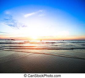 美しい, 海洋, sunset.