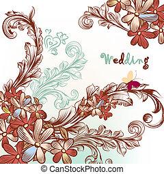 美しい, 渦巻, 花, 背景, 結婚式