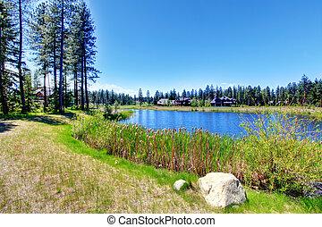 美しい, 湖, 上に, a, 日当たりが良い, 夏の日