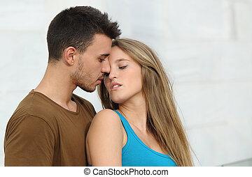 美しい, 準備ができた, 恋人, 愛, 接吻