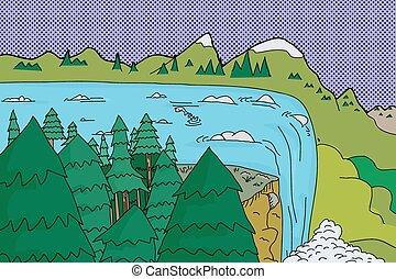 美しい, 滝