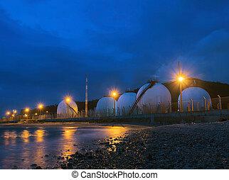 美しい, 照明, の, ガス, lpg, 貯蔵タンク, 中に, 石油化学, indu