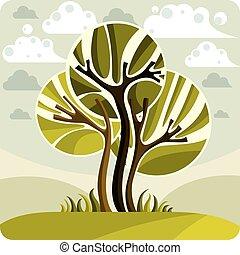 美しい, 牧草地, のどかな, 芸術, eco, 春, イメージ, 洞察力, 木, イラスト, clouds., 定型, 考え, ベクトル, picture., 時間, 季節, 成長する, 妖精, 風景