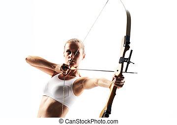 美しい, 狙いを定める, 女, 矢, 弓