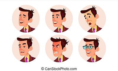 美しい, 現代, 特徴, 隔離された, イラスト, employer., avatar, male., 漫画, 人