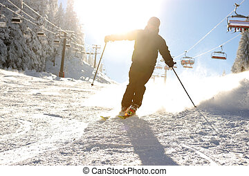 美しい, 現場, シルエット, スキーヤー