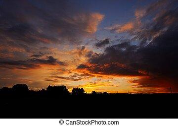 美しい, 田舎, 日没