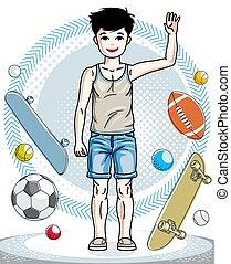 美しい, 男の子, わずかしか, ライフスタイル, illustration., かわいい, cartoon., clothes., 地位, 偶然, ベクトル, 子供, 流行, 幼年時代, 子供