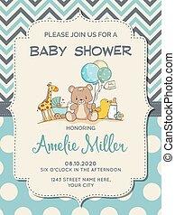 美しい, 男の子, シャワー, おもちゃ, 赤ん坊, カード