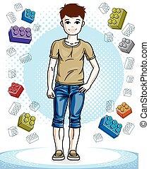 美しい, 男の子, ファッション, ライフスタイル, illustration., cartoon., 若い, clothes., 主題, ベクトル, ポーズを取る, ティーネージャー, 流行, すてきである, 偶然, 子供