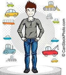 美しい, 男の子, ファッション, illustration., 幸せ, 若い, clothes., 主題, ベクトル, ポーズを取る, ティーネージャー, 魅力的, 流行, 子供, 偶然, clipart.
