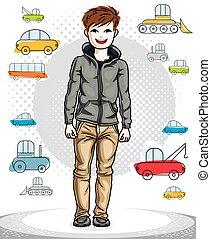 美しい, 男の子, ライフスタイル, illustration., クリップ, 幸せ, 若い, clothes., 偶然, ベクトル, ポーズを取る, ティーネージャー, 人間, すてきである, 流行, かなり, 幼年時代, art.