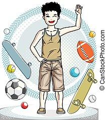 美しい, 男の子, ライフスタイル, illustration., クリップ, 流行, 身に着けていること, 幸せ, 若い, clothes., 偶然, ベクトル, ポーズを取る, ティーネージャー, 子供, 幼年時代, art.