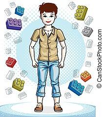 美しい, 男の子, ライフスタイル, illustration., cartoon., 若い, clothes., 偶然, ベクトル, ポーズを取る, ティーネージャー, すてきである, 流行, 子供, 幼年時代, 魅力的