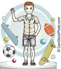 美しい, 男の子, ライフスタイル, illustration., cartoon., 若い, clothes., 偶然, ベクトル, ポーズを取る, ティーネージャー, 人間, 流行, かなり, 幼年時代, すてきである