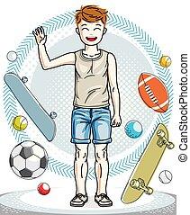 美しい, 男の子, ライフスタイル, illustration., cartoon., 若い, clothes., 偶然, ベクトル, ポーズを取る, ティーネージャー, 人間, 流行, 幼年時代, 幸せ