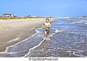 美しい, 男の子, 操業, 浜, 前方へ