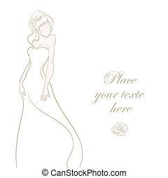 美しい, 病気, 花嫁, ベクトル, 背景, 結婚式, 白, カード