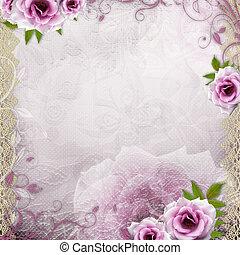 美しい, 白い背景, 結婚式