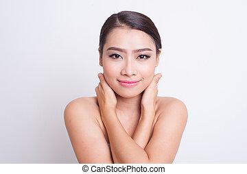 美しい, 皮膚, 女, アジア人, 心配