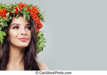 美しい, 皮膚, 女, 巻き毛, 健康, 若い, 長い間, 葉, 毛, 概念, 緑, skincare, haircare