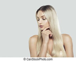 美しい, 皮膚, 女, 自然, 彼女, 考え, 手。, 構造, 美容術, 若い, skincare, 顔, 毛, 健康, 待遇, 感動的である, 美顔術, エステ, ブロンド, 美しさ