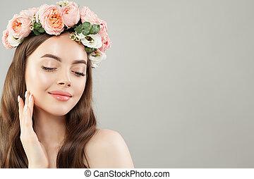 美しい, 皮膚, 女, beauty., ゆとり, 若い, 長い髪, 花