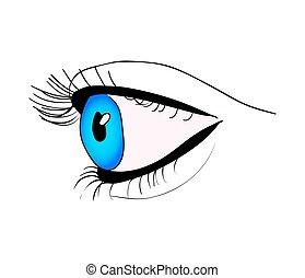 美しい, 目, 人間, シンボル, の上, イラスト, 隔離された, ベクトル, 背景, 終わり, 白, アイコン, design.