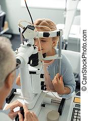 美しい, 眼科医, 女の子, 週末, 訪問