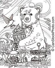 美しい, 着色, ページ, 熊