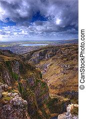 美しい, 石灰岩, 自然, 上に, 空, 明るい色, 劇的, 崖, 風景
