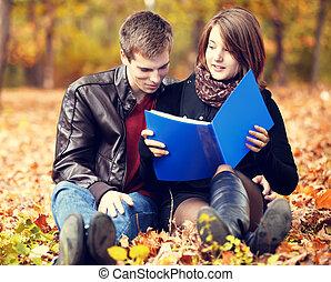 美しい, 秋, 恋人, ノート, park.