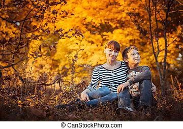 美しい, 秋, 息子, 公園, 母