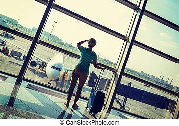 美しい, 空港, 女, 若い